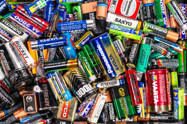 Large collection of batteries stock photo
