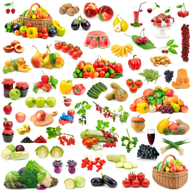 large collection of fruits and vegetables healthy. - melonenbirne stock-fotos und bilder