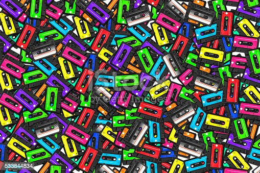 istock large collection of retro cassette tapes. Multicolored audio tapes 533844834
