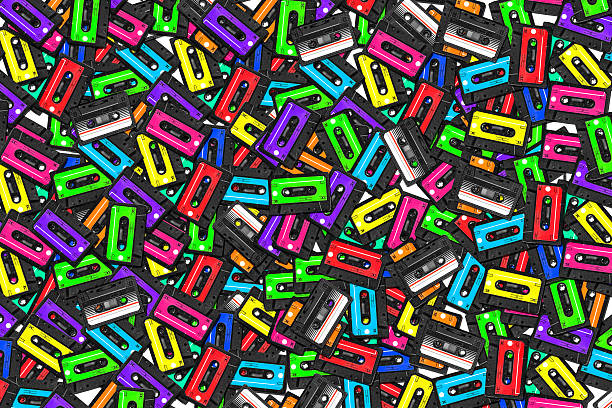 large collection of retro cassette tapes. Multicolored audio tapes stock photo