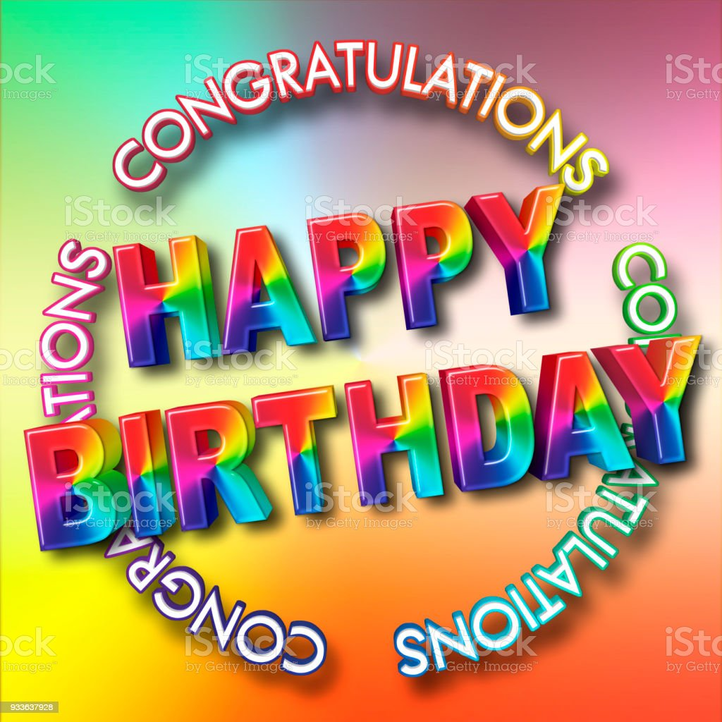 Large Colorful Text Happy Birthday 3d Illustration Bright