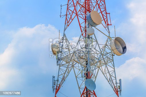 istock Large communication towers on a bright day 1092677486