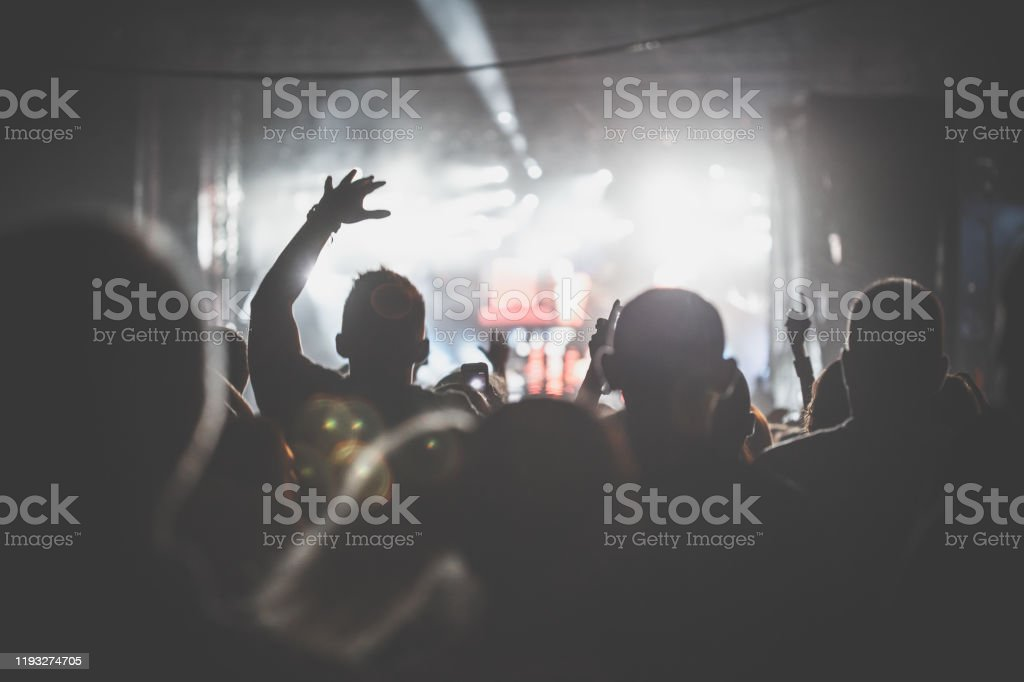 Rear view of large group of unrecognizable people cheering, dancing...