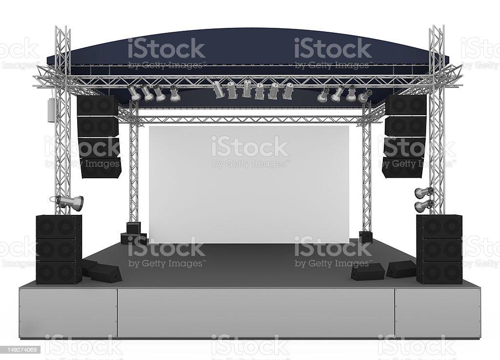 Große Konzert-Bühne vor einem weißen Hintergrund. – Foto