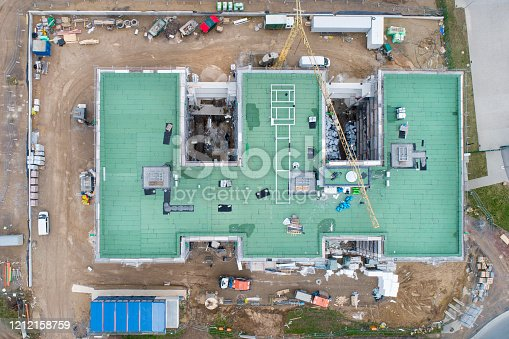 Large construction site - aerial view