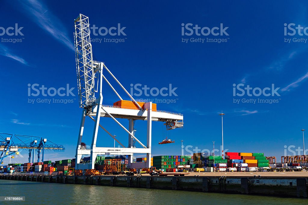 Large container crane in Port of Rotterdam stock photo