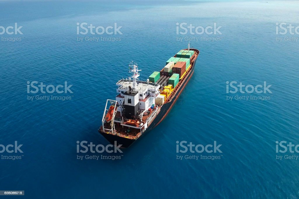 Large container ship at sea - Aerial image - Royalty-free Aerial View Stock Photo