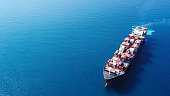 Large container ship at sea - Top down Aerial Image