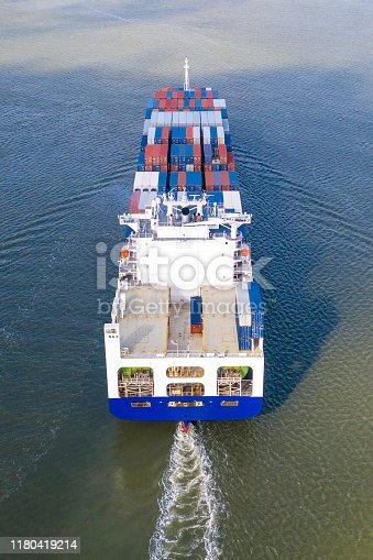 483418977istockphoto Large container ship entering / leaving port. 1180419214
