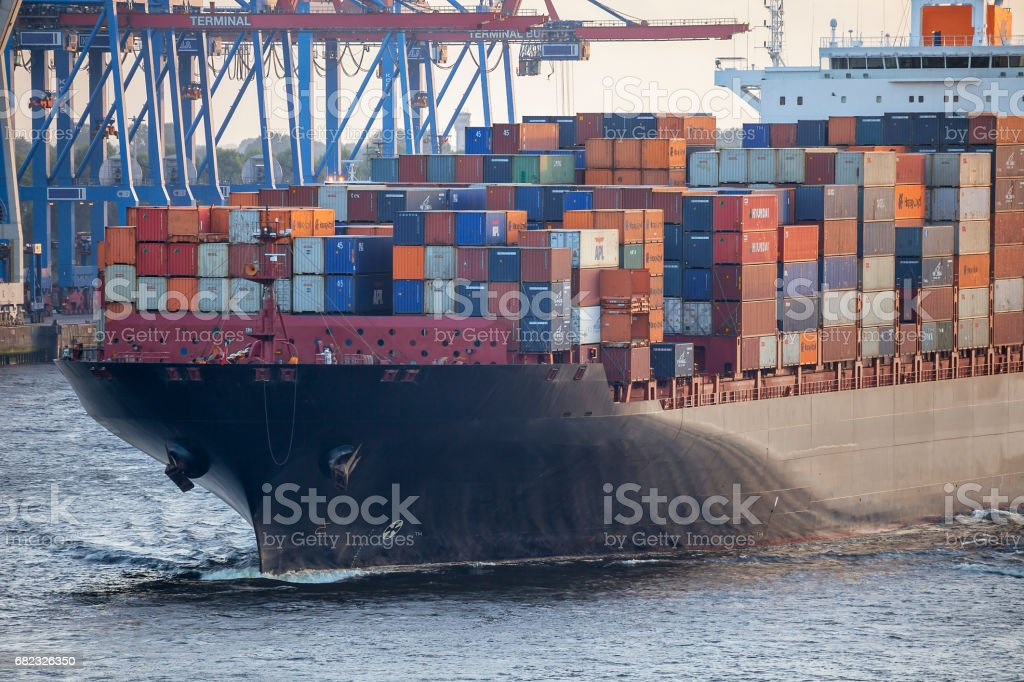 Large Container Ship in Hamburg Harbour, Germany stock photo