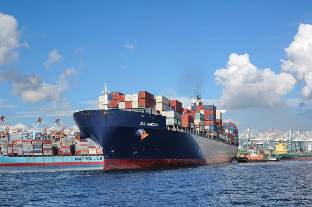 Large Container Ship Leaves Kaohsiung Port stock photo