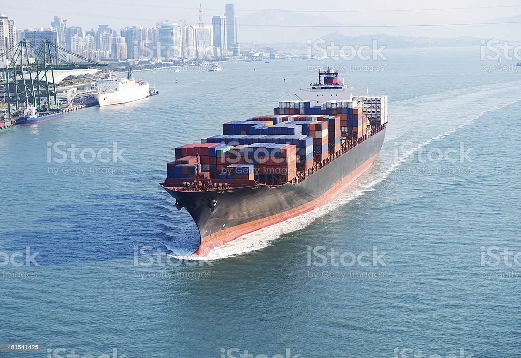 large container ship stock photo