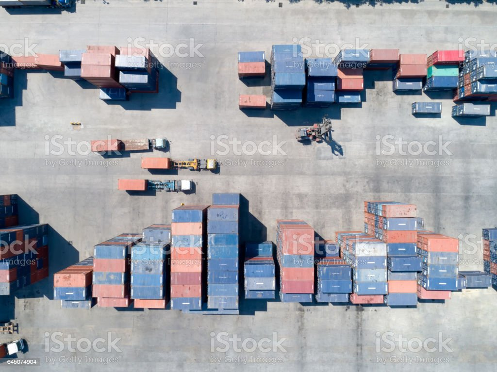 Large container shipping at shipping yard main transportation of cargo container shipping. Shipping concept for Global business shipping,Logistic,Import and Export industry. stock photo