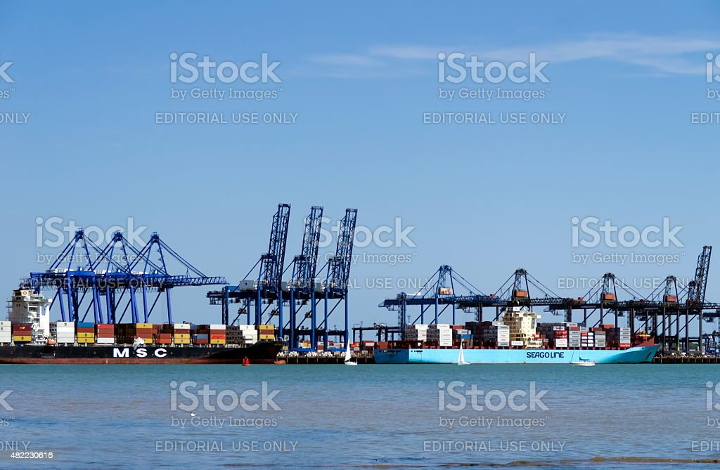 Large container ships moored at Felixstowe Port stock photo