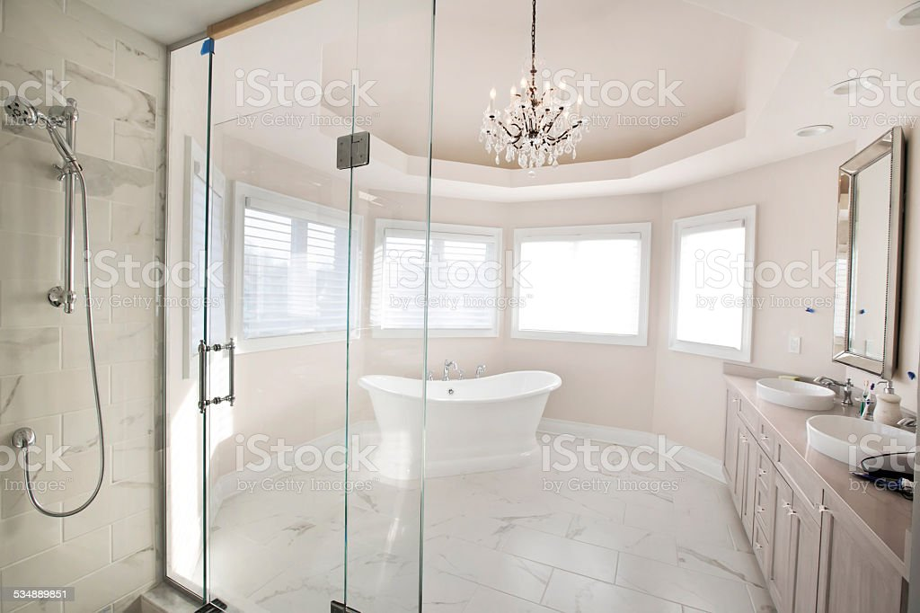 Large Contemporary Master Bathroom In Residential Home Stock Photo Download Image Now Istock