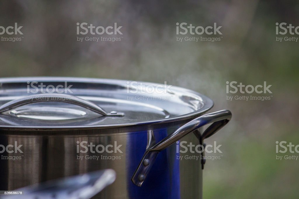 Large cooking pot stock photo
