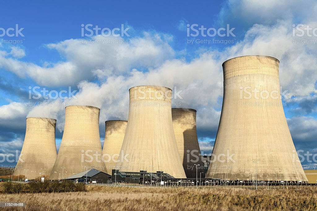 Large cooling towers, Power Station stock photo