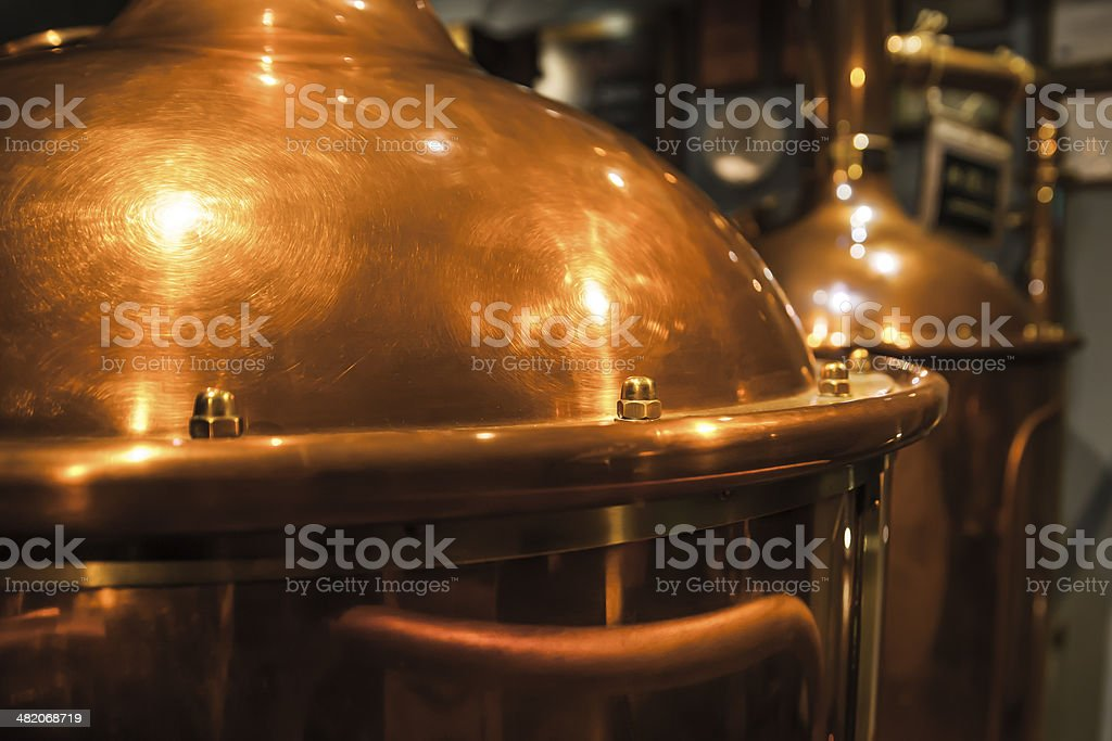 Large, copper container for brewing. stock photo