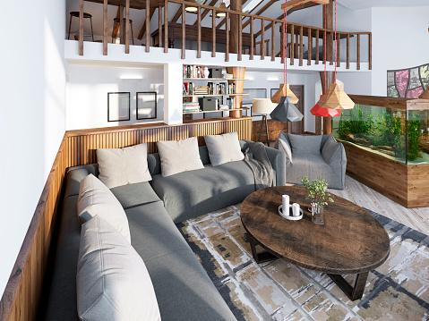 Large Corner Sofa In The Living Room Luxury Loft Style Stockfoto und mehr  Bilder von Behaglich