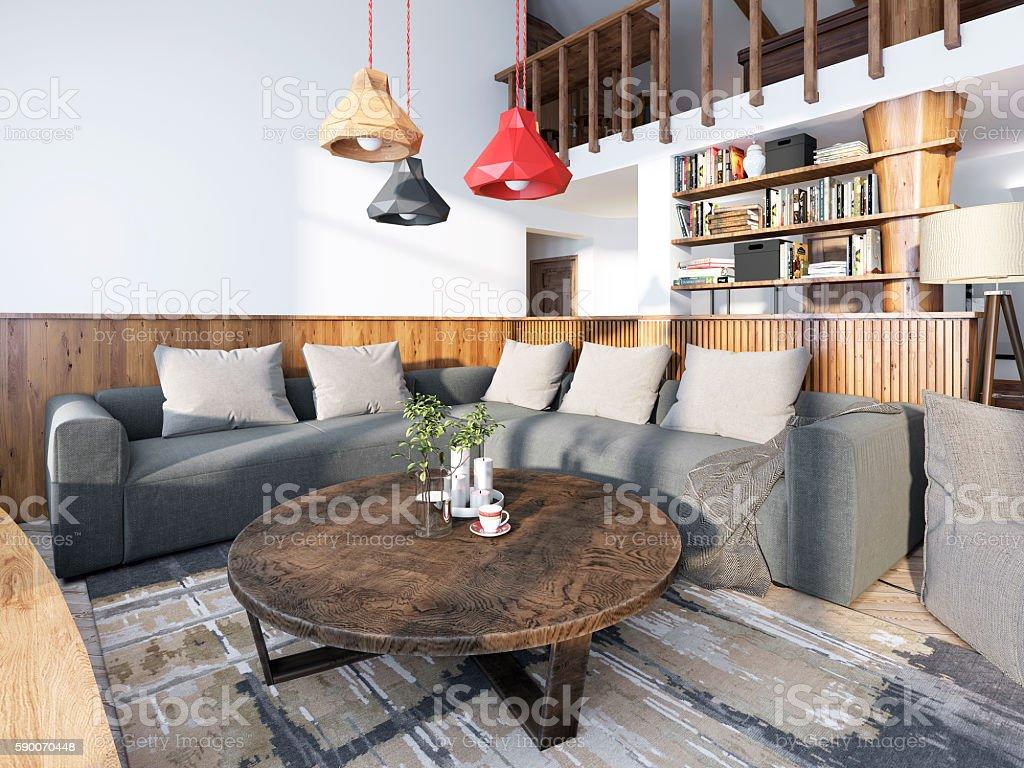 Large Corner Sofa In The Living Room Luxury Loft Style ...