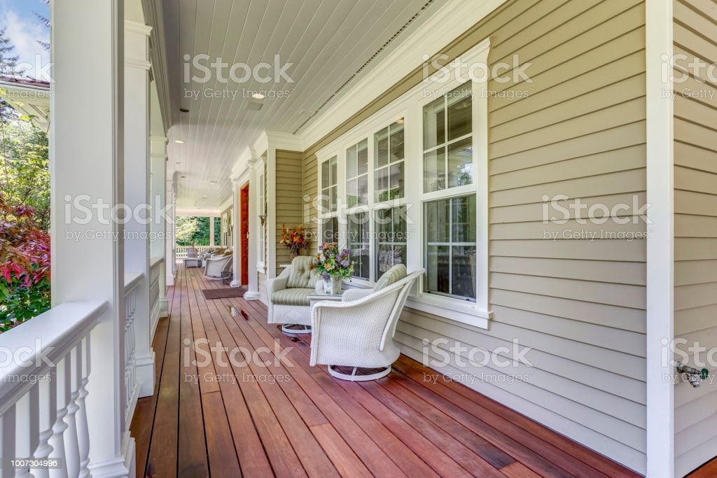 Large Country Home With Wraparound Deck Stock Photo Download Image Now Istock