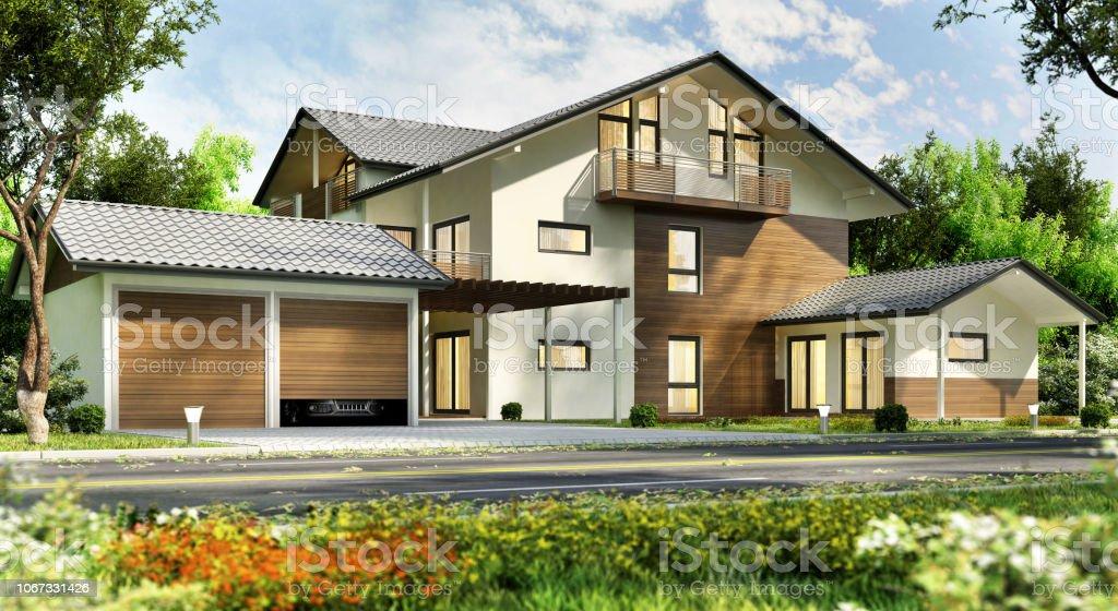Grosses Landhaus Mit Garage Stockfoto Und Mehr Bilder Von