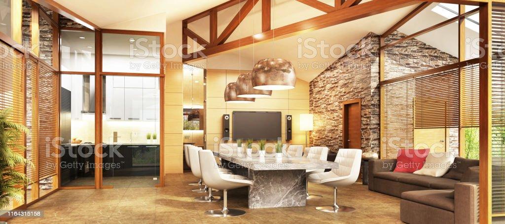 Grosses Landhaus Mit Kuche Und Wohnzimmer Innenarchitektur