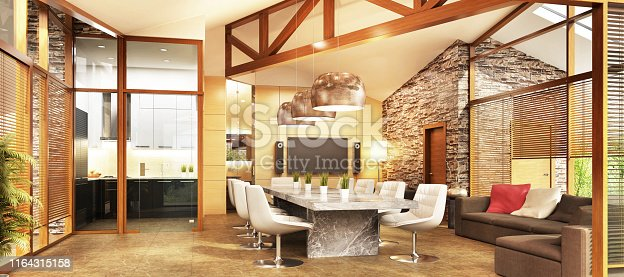 istock Large country house with kitchen and living room interior design 1164315158