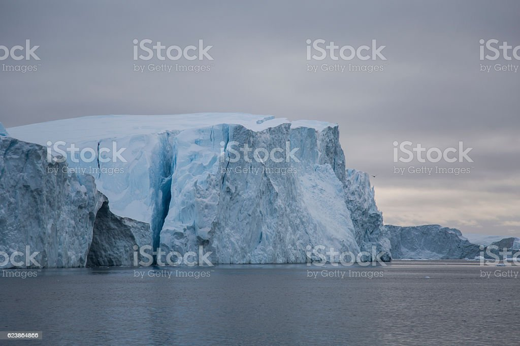 Large cracked iceberg stock photo