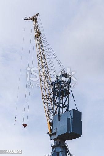 Large crane at a shipyard's dry dock.  Belfast, Northern Ireland.