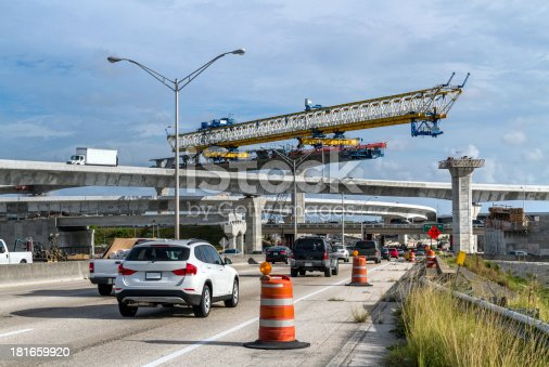 Large crane used in the Expressway Construction. Miami-Dade County.