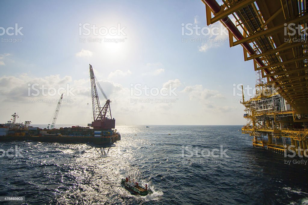 Large crane vessel installing the platform in offshore royalty-free stock photo