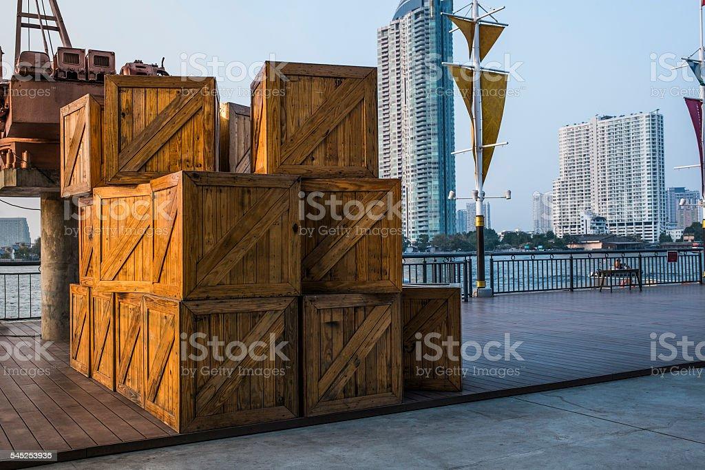 Large crates stock photo