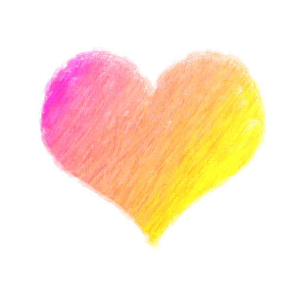 large crayon and paint heart on white background - herz wachsmalerei stock-fotos und bilder