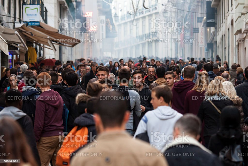 Large crowd of people in Lisbon stock photo