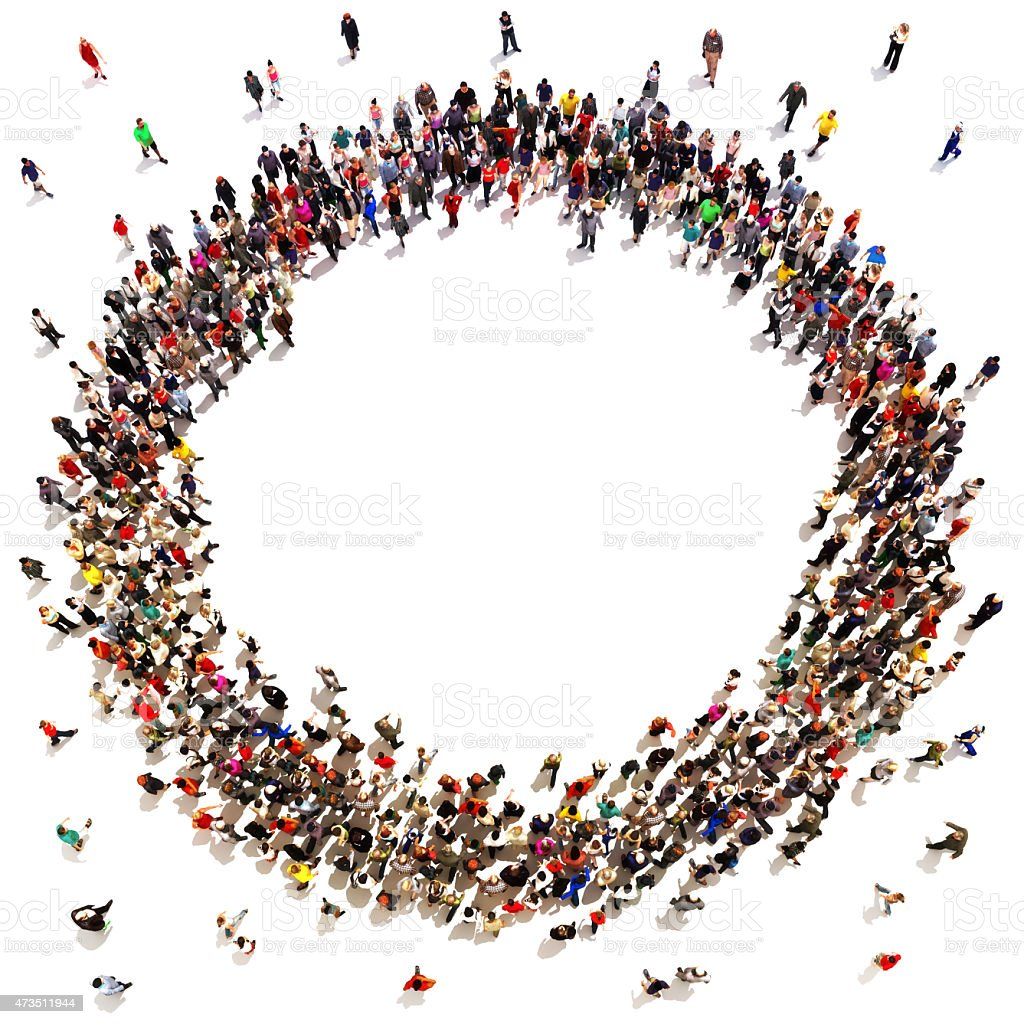 Large crowd of people moving toward the center - Royalty-free 2015 Stock Photo