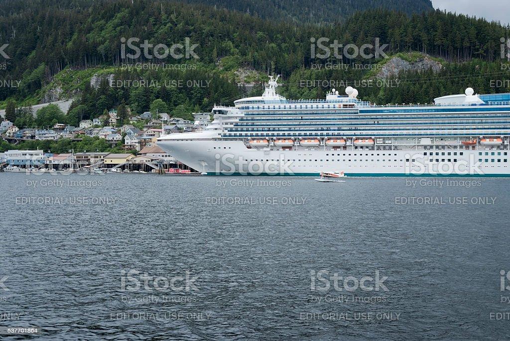 Large cruise ship docked at the port of Ketchikan, Alaska stock photo
