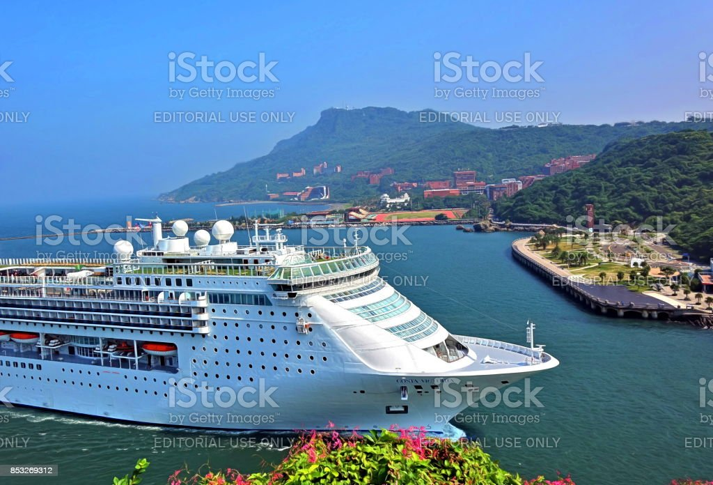 Large Cruise Ship Enters Kaohsiung Port stock photo
