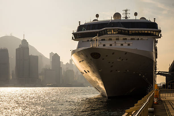Large cruise ship in Victoria Harbour, Hong Kong stock photo