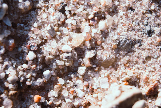 Large crystals of clean river sand. stock photo