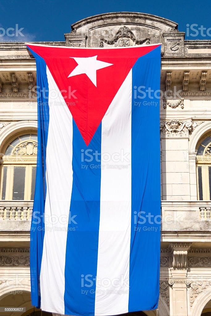 Large Cuban Flag stock photo