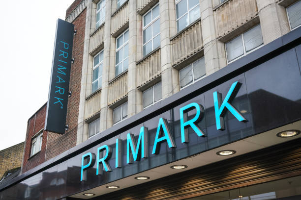 Large cyan sign on Primark store at their Lewisham branch. Irish fashion retailer was founded 1969 and has now more than 350 stores worldwide. stock photo