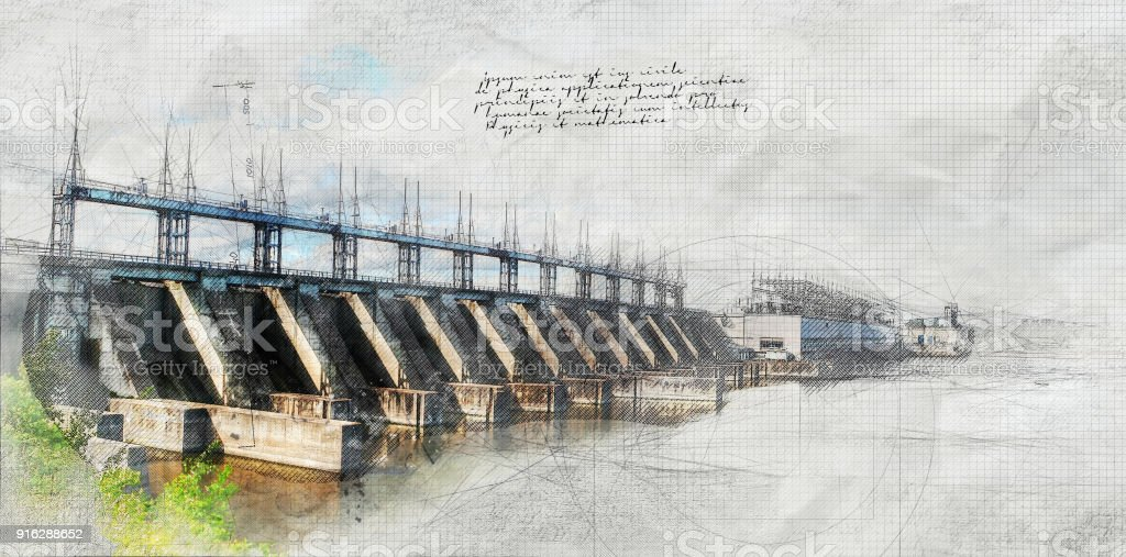 Large Dam with Grunge Effect stock photo