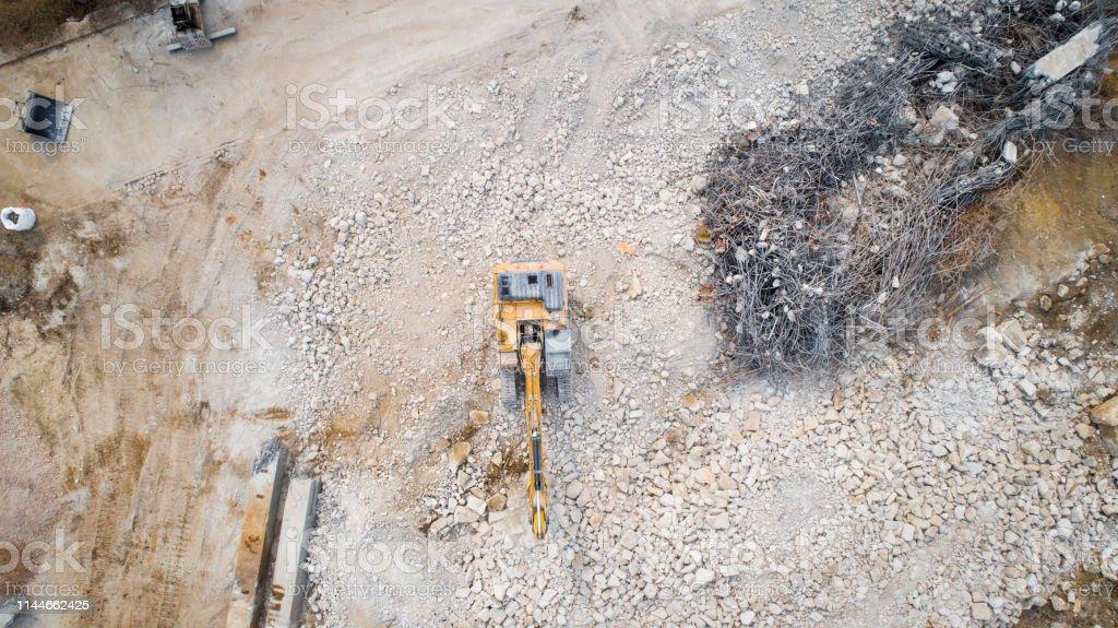 Grande zone de démolition-débris, vue aérienne photo libre de droits