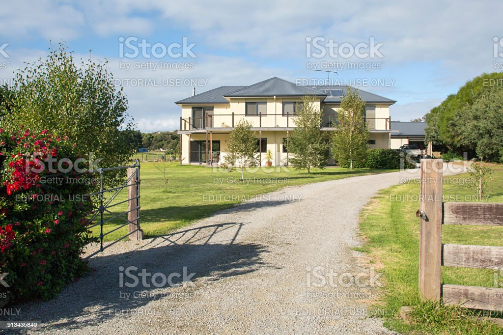 Large Detached House in rural Australia stock photo