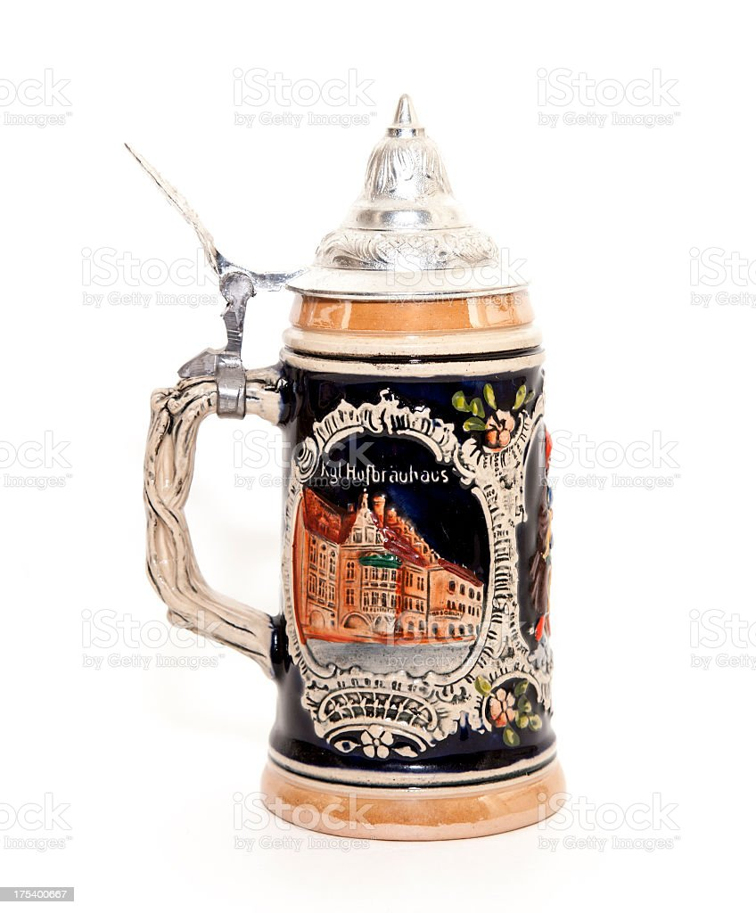 A large detailed stein full of beer stock photo