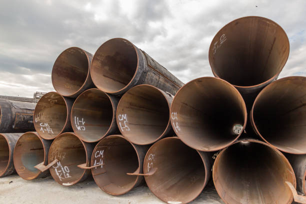large diameter tubular metal piles for berth construction - diameter stock pictures, royalty-free photos & images