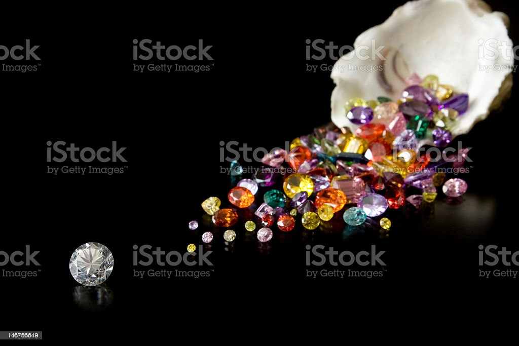 Large Diamond And Gems From Oyster royalty-free stock photo