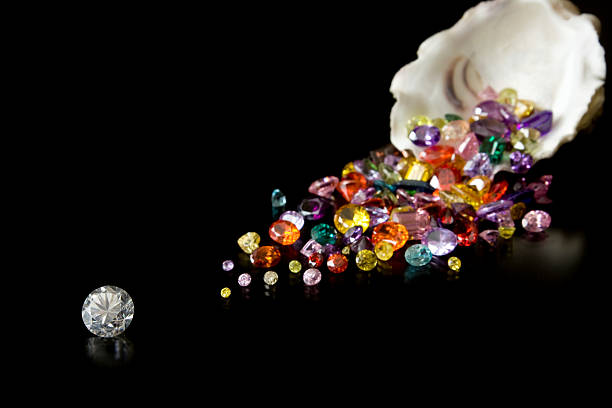 Large Diamond And Gems From Oyster stock photo
