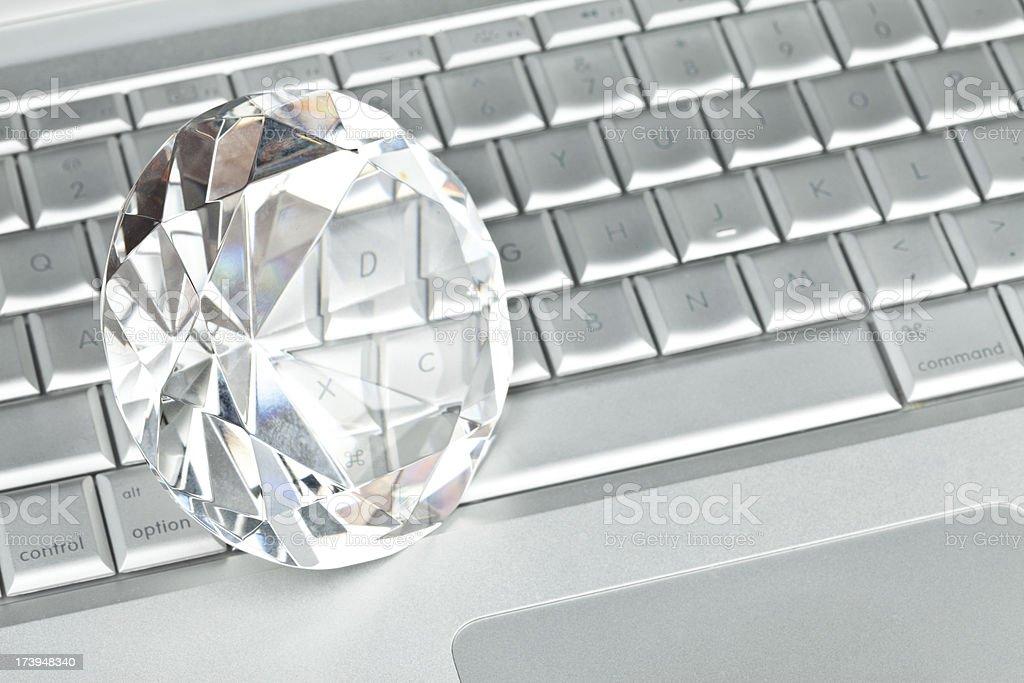 large diamond on laptop royalty-free stock photo